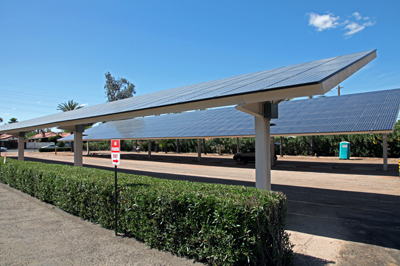 The solar panels at the Benedictine Monastery also provide shade for parking. (Image: Mark Duggan)