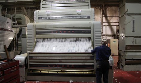 A modern-day cotton gin still uses the same mechanical process perfected by Eli Whitney in 1793 to separate cotton fiber and seed.