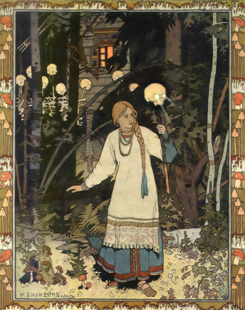 Ivan Bilibin illustration of Vasilisa The Beautiful, lighting the darkness outside of Baba Yaga's chicken-legged hut.