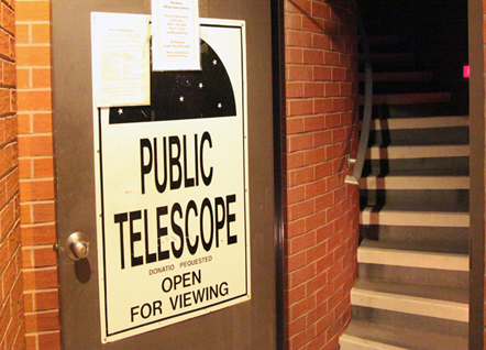 Public telescope viewing programs, like this one at the University of Arizona's Flandrau Science Center, have exploded in popularity. (Photo by Mark Duggan.)