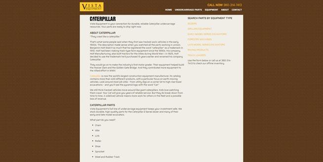 Vista Equipment Caterpillar page screenshot