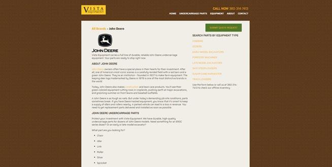 Vista Equipment John Deere page screenshot