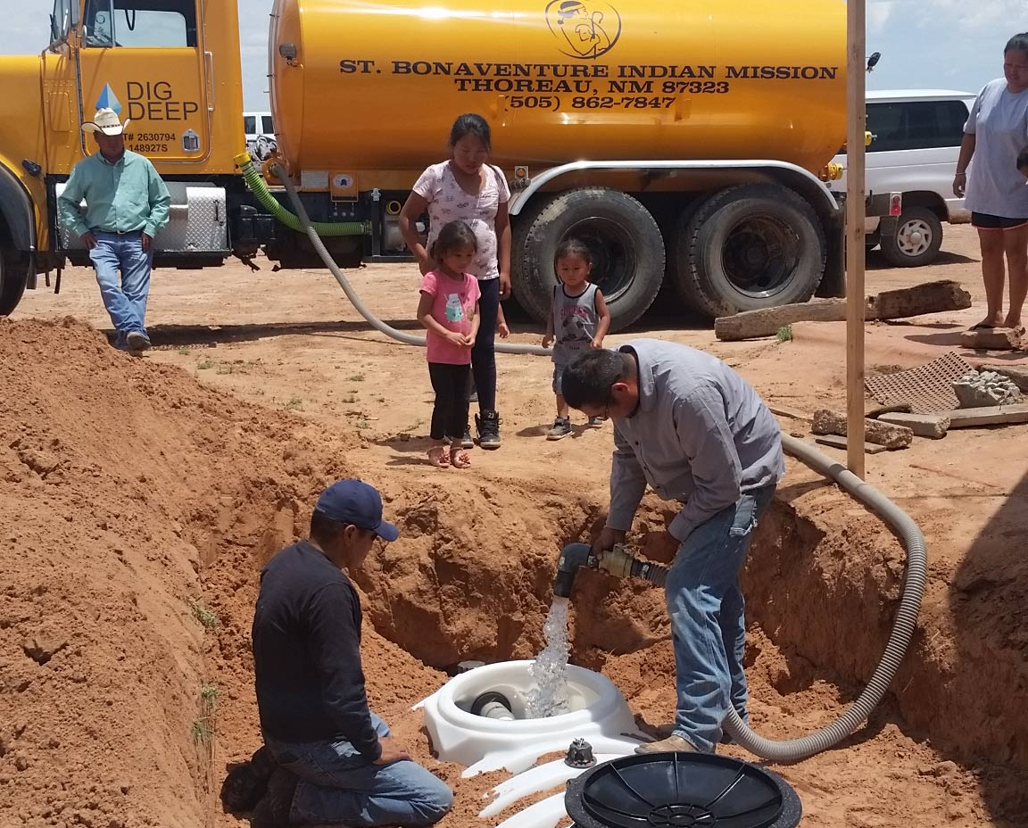 installing water cistern on navajo nation
