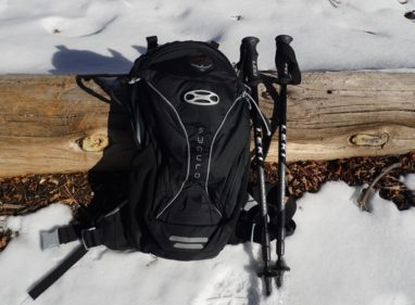 osprey pack and Leki hiking poles