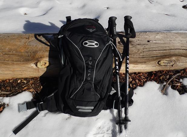 osprey pack and Leki hiking poles