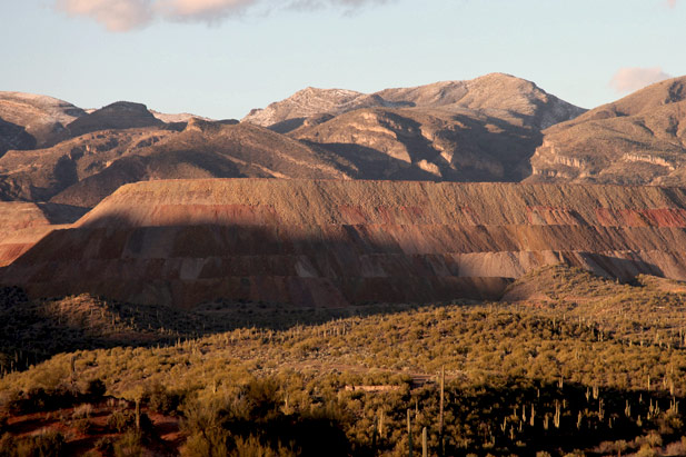 Copper mine tailings piles in Arizona