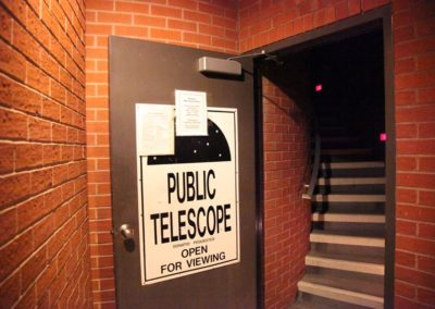 Public telescope open for viewing sign