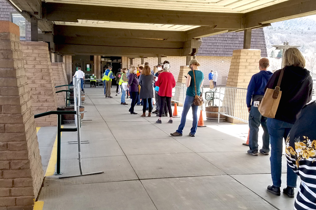 Line at Durango vaccine clinic