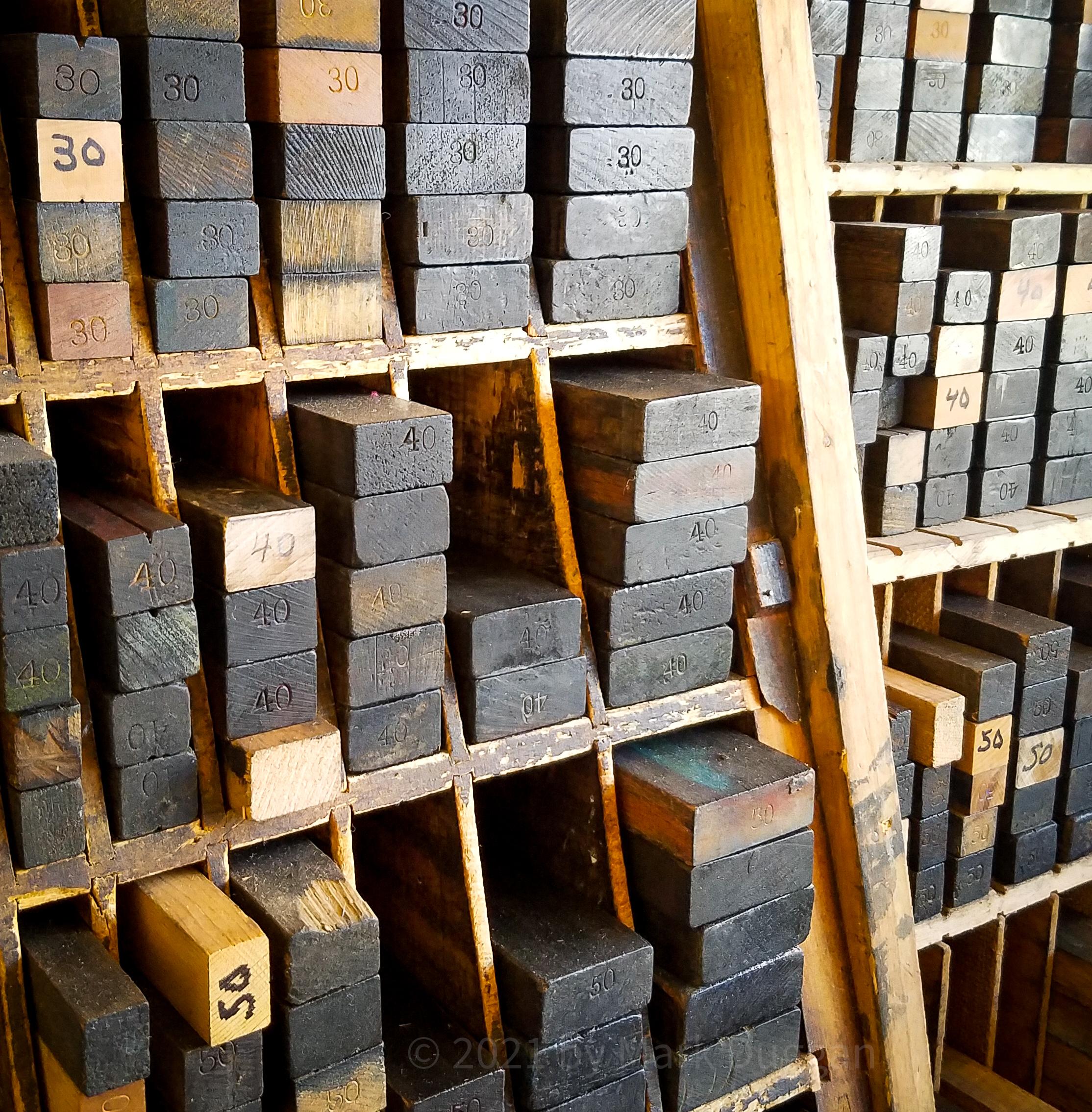 Wood printing blocks