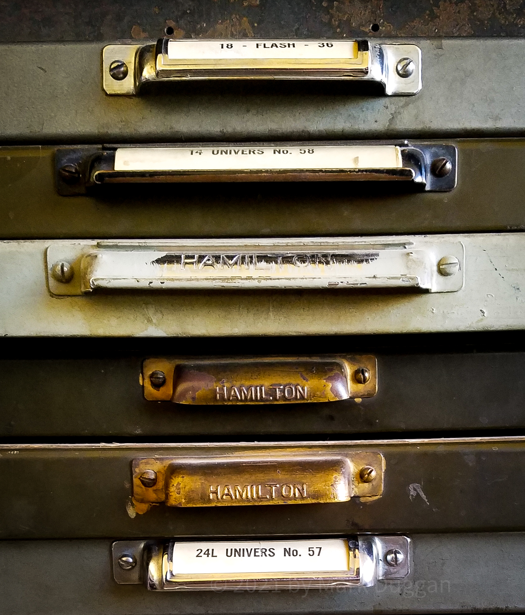 typeface selections in vintage cabinets